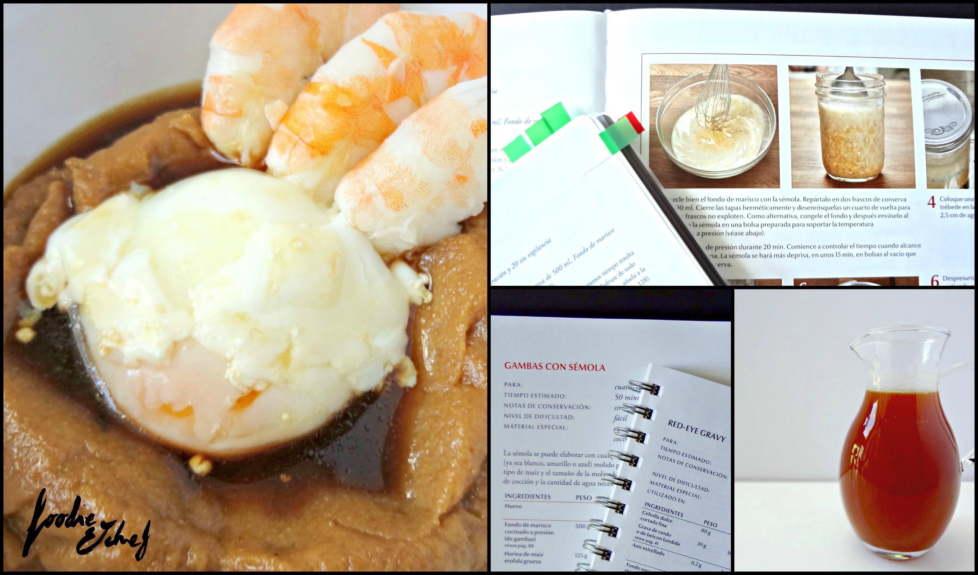 Sémola con gambas y huevo a baja temperatura, extractos del libro y cuadernillo y fondo de carne - by BeaChan