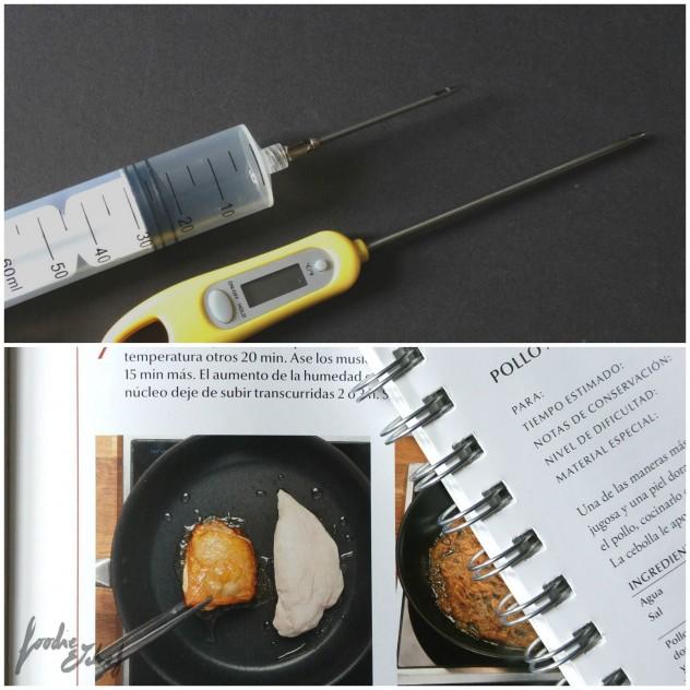 Jeringuilla y termómetro (arriba) y páginas con la receta del libro y cuadernillo Modernist Cuisine at Home (abajo) by BeaChan