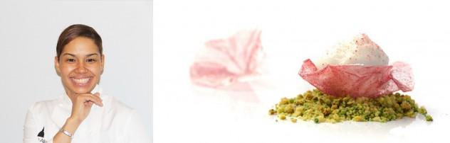 María Marte y su plato inspirado en  Monica Wanjiru, Flor de Hibisco con pisco Sour sobre Crumble de Pistacho - imágenes de Internet