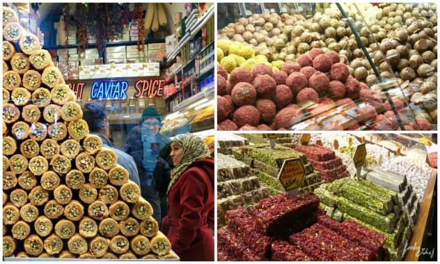 De izquierda a derecha y de arriba a abajo: Baklava, trufas variadas de chocolate y lokum - by BeaChan