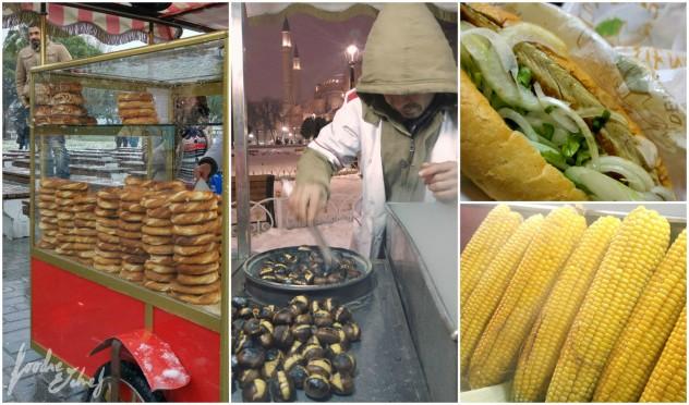 De izquierda a derecha y de arriba a abajo: puesto callejero de simits, otro de castañas, balik ekmek y mazorcas de maíz - by BeaChan