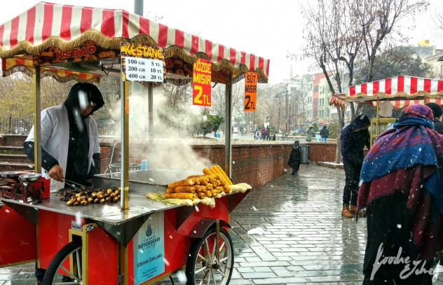 Típico carrito de castañas y maíz en las calles de Estambul